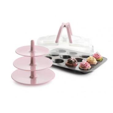 Molde 12 cupcakes, tapa y soporte
