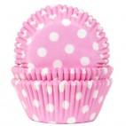 Cápsulas lunares blancos sobre rosa bebé