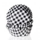 Cápsulas mini cupcakes vichy blanco y negro. HoM.