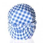 Cápsulas mini cupcakes vichy azul y blanco. HoM.