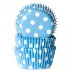 Cápsulas mini cupcakes azul con lunares blancos. HoM.