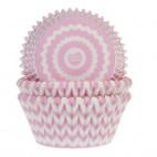 Cápsulas para cupcakes chevron rosa