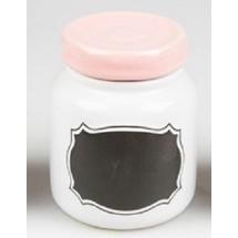 Bote con etiqueta pizarra rosa pastel