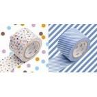 Washi Tape Líneas azules y topos