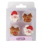 Decoraciones de Azúcar Santa Claus y Rudolph
