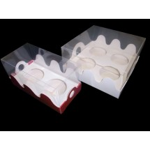 Caja 4 cupcakes con tapa transparente