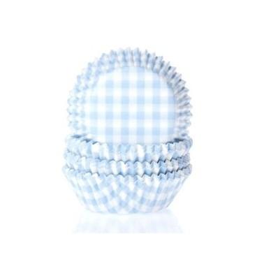 Cápsulas mini cupcakes vichy blanco y azul pastel. HoM.