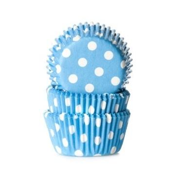 Capsulas Mini Cupcakes Azul Con Lunares Blancos Hom Alma S Cupcakes