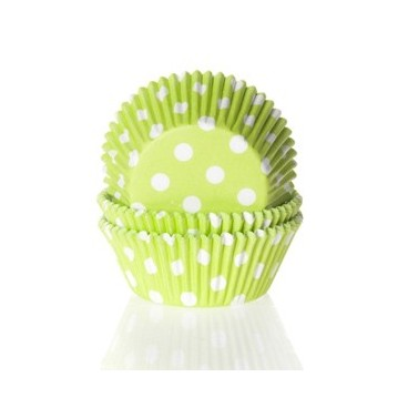 Cápsulas mini cupcakes verde lima con lunares blancos HoM.