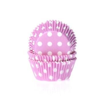 Cápsulas mini cupcakes rosa con lunares blancos. HoM.