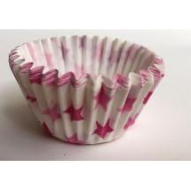 Cápsulas mini cupcakes estrellas rosas