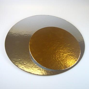 Set de 3 bases oro/plata 26 cm.