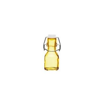 Botellita de vidrio con tapón amarilla