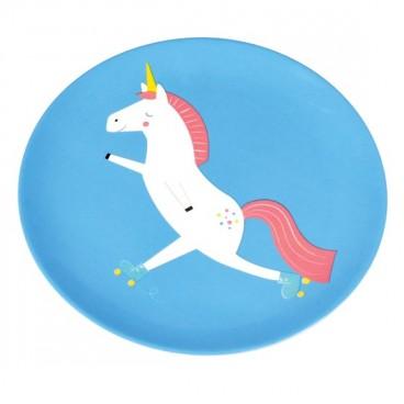Plato de melamina unicornio