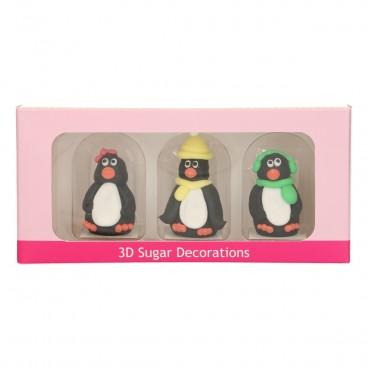 Pingüinos 3D de azúcar