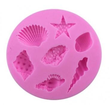 Molde de silicona con forma de conchas