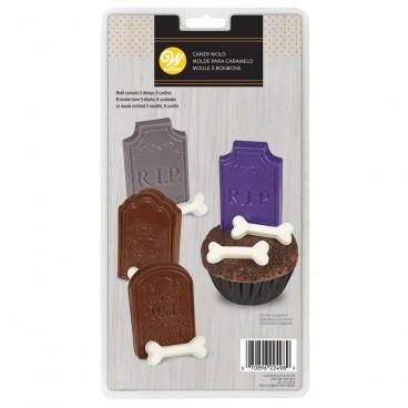 Molde para lápidas y huesos de chocolate